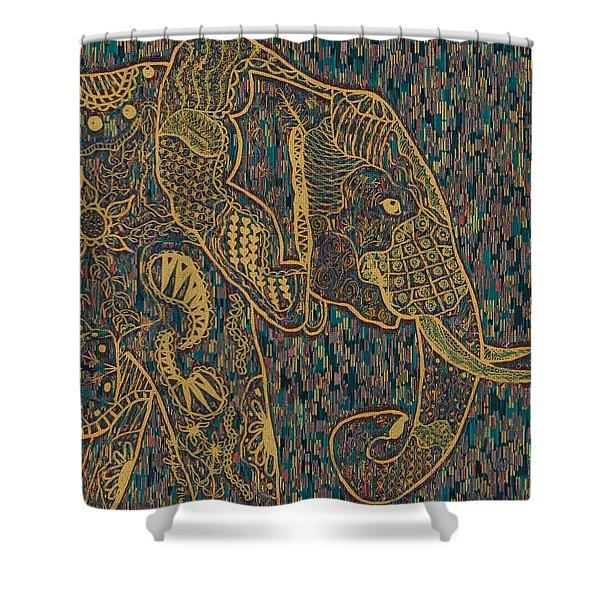 Zentangle Elephant-oil Gold Shower Curtain