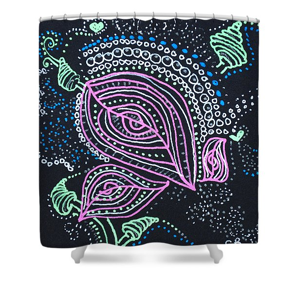 Zentangle Flower Shower Curtain