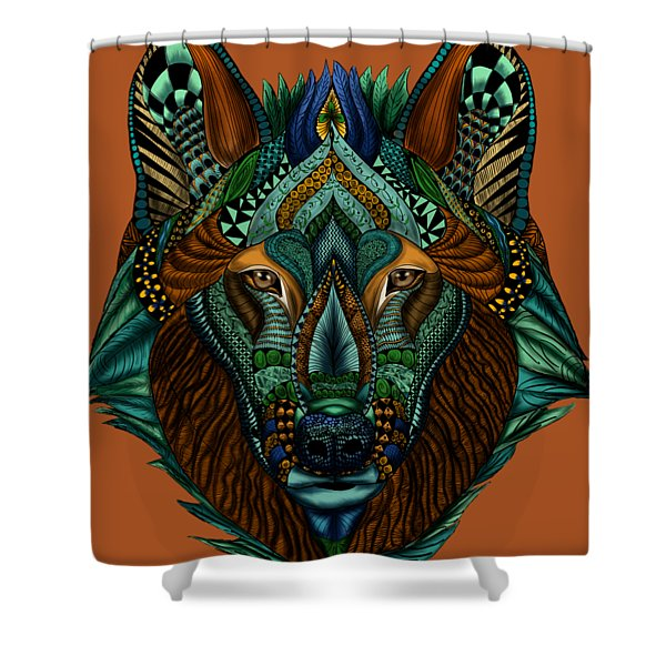 Zentangle Inspired Art- Wolf Colored Shower Curtain