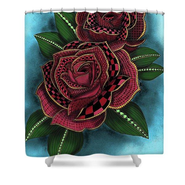 Zentangle Tattoo Rose Colored Shower Curtain