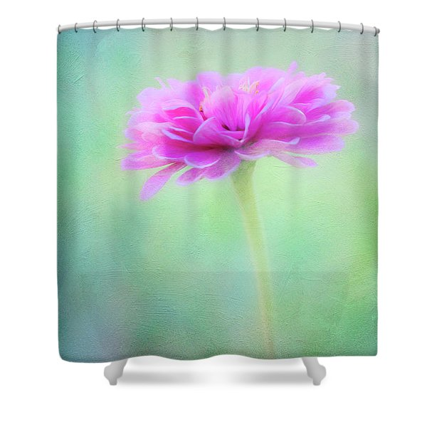 Painted Pink Zinnia Shower Curtain