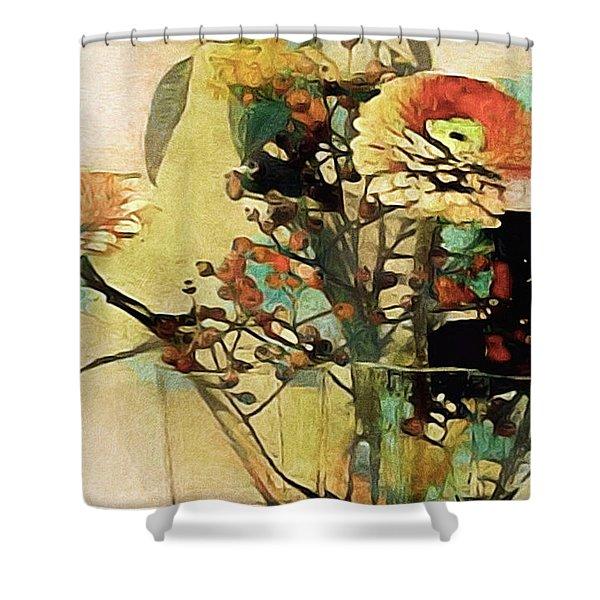 Zinnias From The Garden Shower Curtain