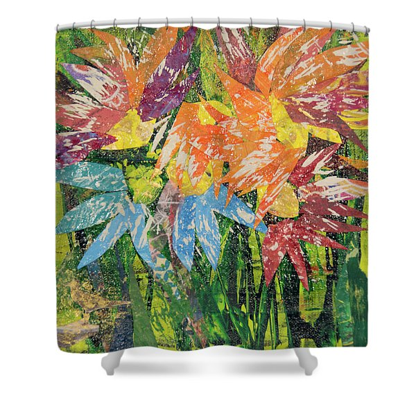 Zinnias Gone Mad Shower Curtain