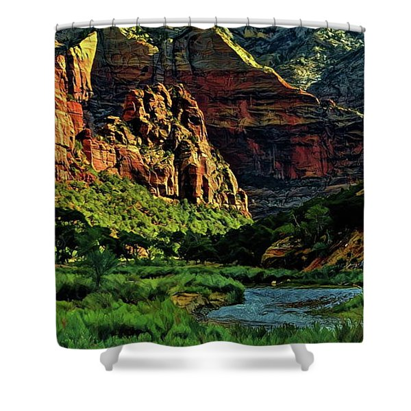 Zion Canyon River Shower Curtain