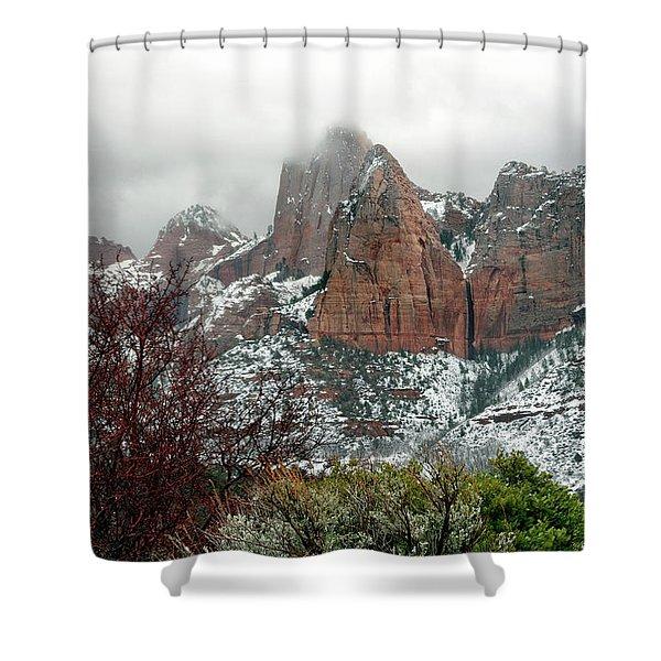 Zion Winter Skyline Shower Curtain