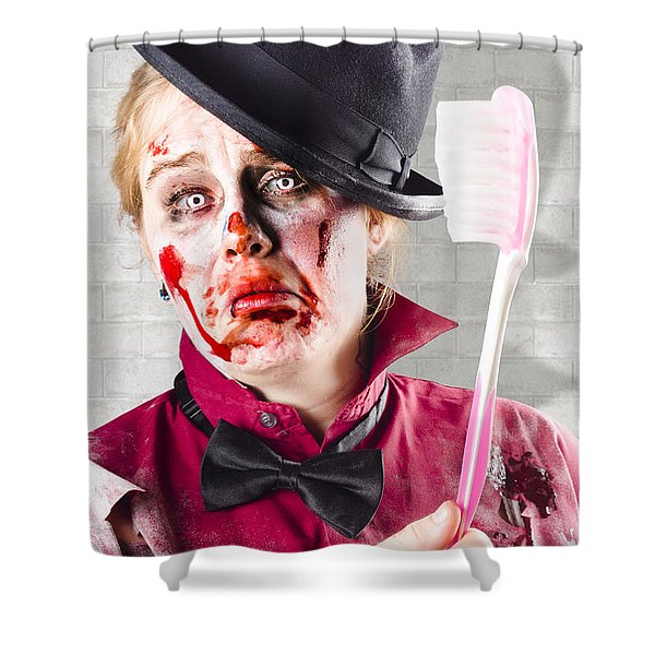 Zombie With Big Toothbrush. Fear Of The Dentist Shower Curtain