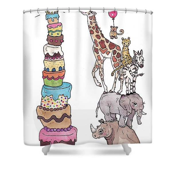 Zoo Animals Happy Birthday Card Shower Curtain