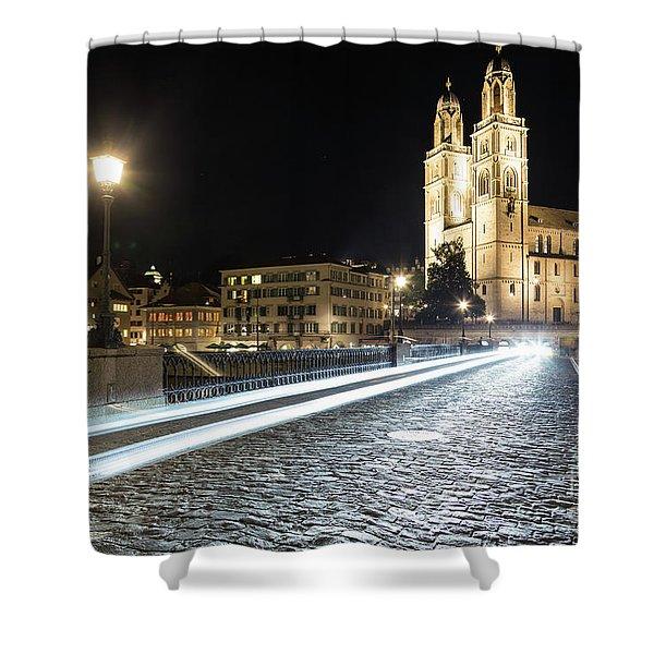 Zurich Night Rush In Old Town Shower Curtain