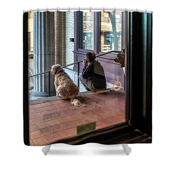 018 - Girl And Dog Shower Curtain
