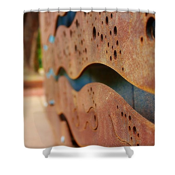 1 Abstract Lake Patricia Sign 2 Shower Curtain