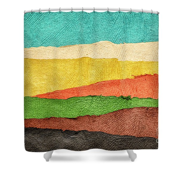 Abstract Landscape Created With Handmade Paper Shower Curtain