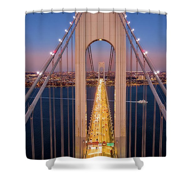 Aerial View Of Verrazzano Narrows Bridge Shower Curtain