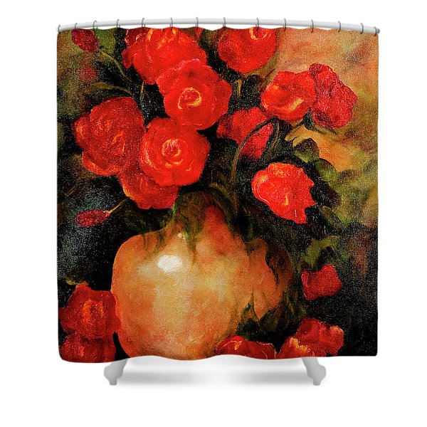 Antique Red Roses Shower Curtain