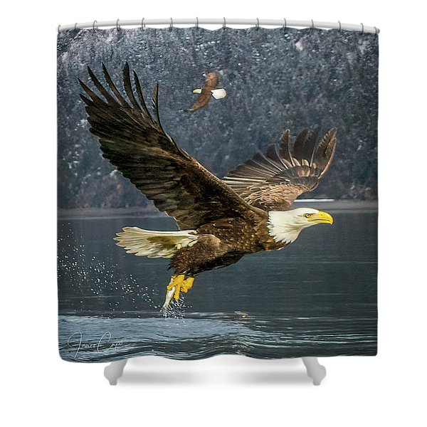 Bald Eagle With Catch Shower Curtain