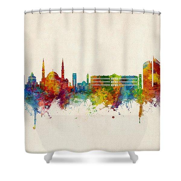 Beirut Lebanon Skyline Shower Curtain