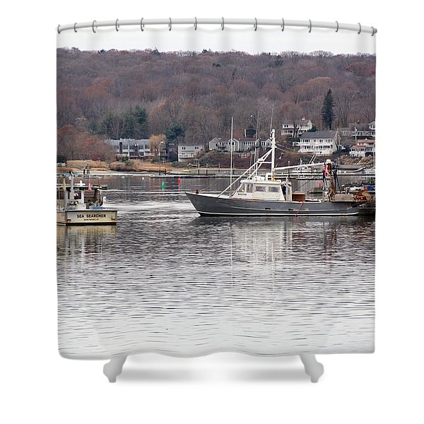 Boats At Northport Harbor Shower Curtain