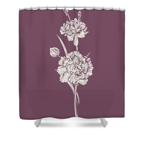 Carnation Purple Flower Shower Curtain