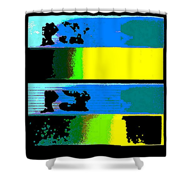 Cityscapel 4000 Original Fine Art Painting Digital Abstract Triptych Shower Curtain