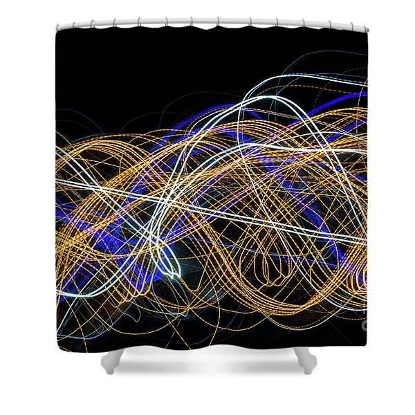 Colorful Light Painting With Circular Shapes And Abstract Black Background. Shower Curtain
