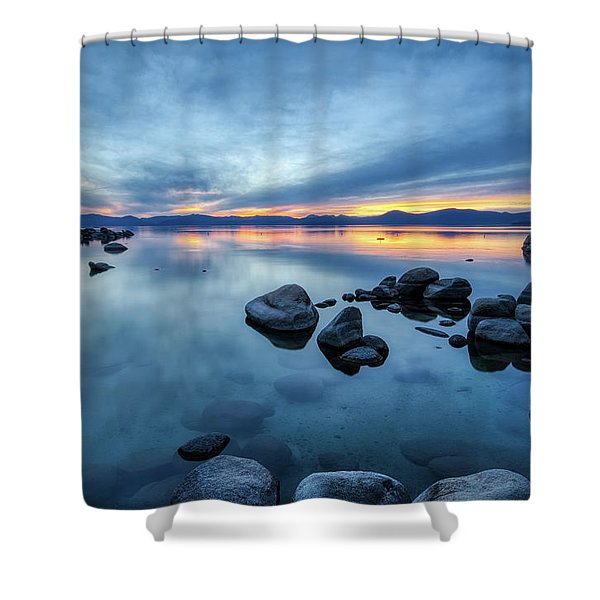 Colorful Sunset At Sand Harbor Shower Curtain