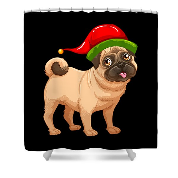a2237adb7f67b Cute Pug In A Christmas Elf Hat Shower Curtain