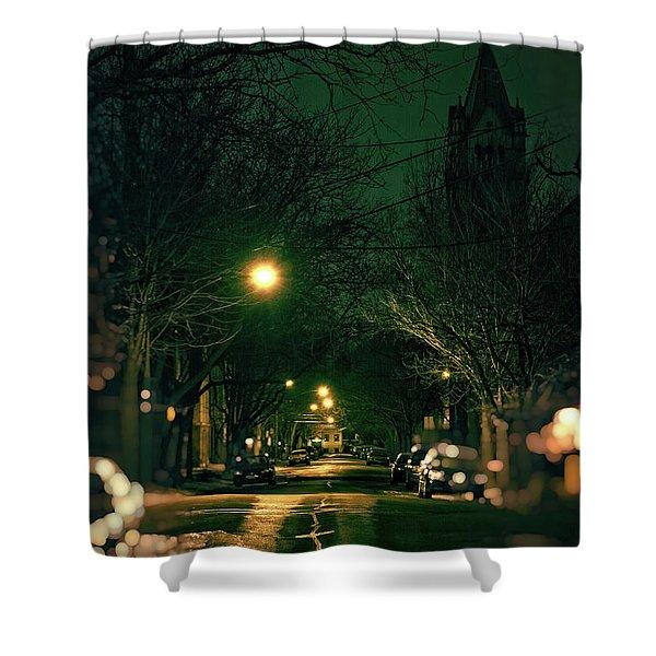 Dark Chicago City Street At Night Shower Curtain