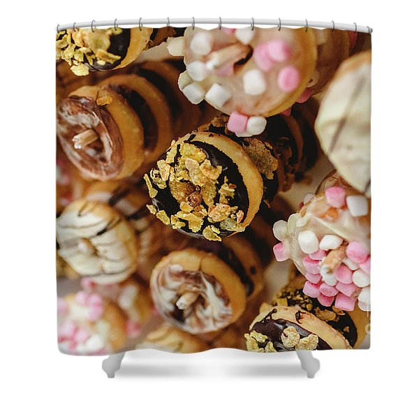 Donuts Of Different Flavors, To Put On An Unhealthy Diet Shower Curtain