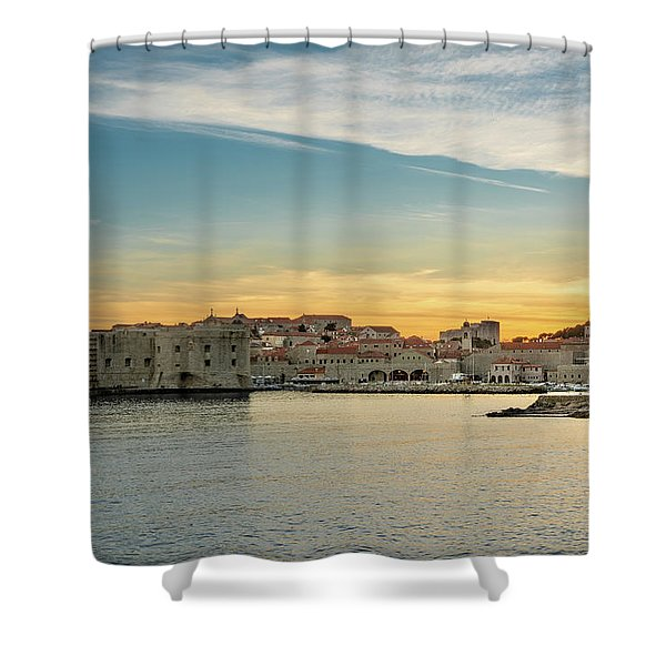 Shower Curtain featuring the photograph Dubrovnik Old Town At Sunset by Milan Ljubisavljevic