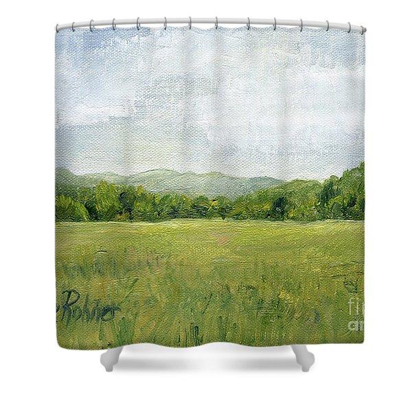 Fields Meet Mountains Shower Curtain