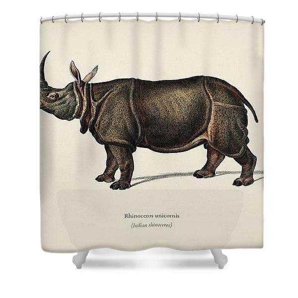 Indian Rhinoceros  Rhinoceros Unicornis  Illustrated By Charles Dessalines D  Orbigny  1806 1876  Shower Curtain