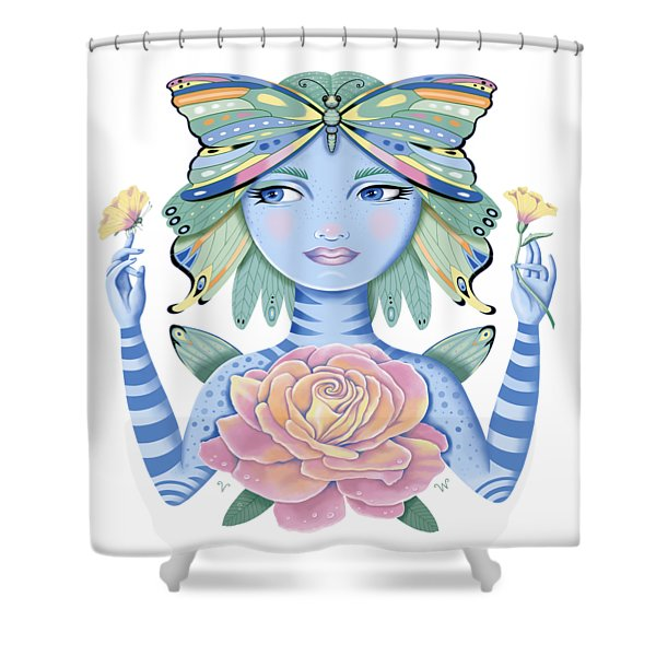 Insect Girl, Winga, With Rose Shower Curtain