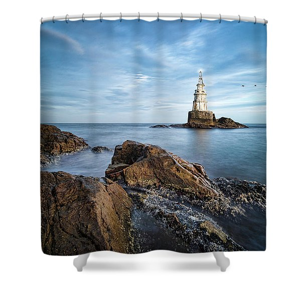 Shower Curtain featuring the photograph Lighthouse In Ahtopol, Bulgaria by Milan Ljubisavljevic
