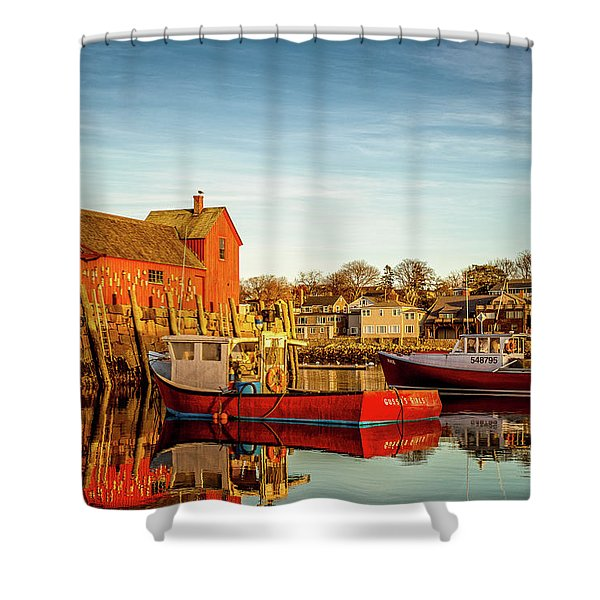 Shower Curtain featuring the photograph Low Tide And Lobster Boats At Motif #1 by Jeff Sinon