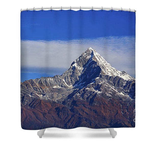 Shower Curtain featuring the photograph Machapuchare Mountain Fishtail In Himalayas Range Nepal by Raimond Klavins