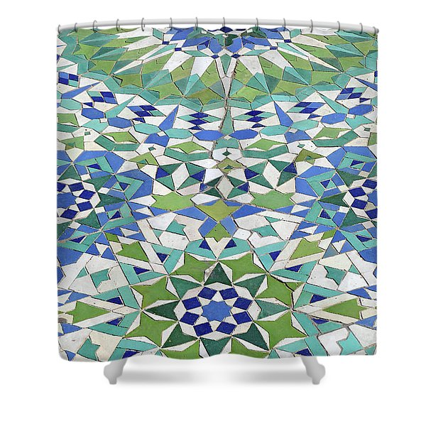 Mosaic Exterior Decorations Of The Hassan II Mosque Shower Curtain