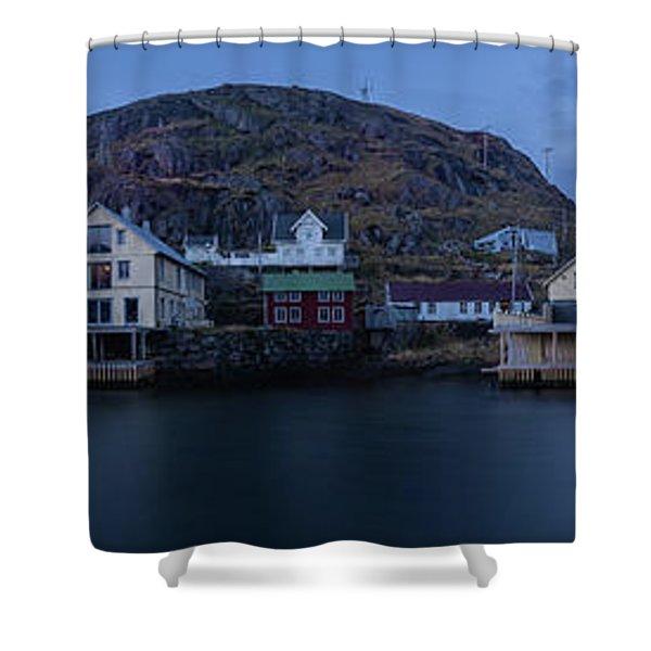 Norwegian Seaside Town Nyksund Shower Curtain