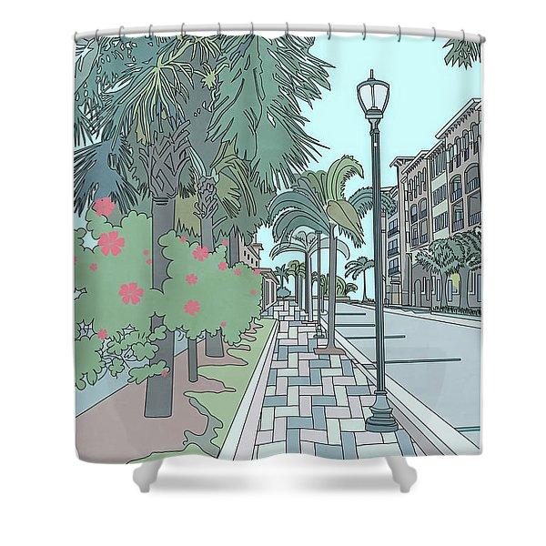 Orange Avenue Shower Curtain