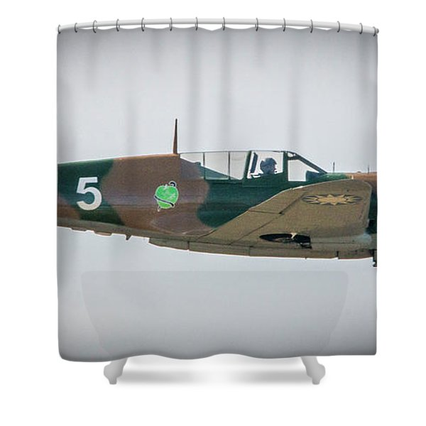 Shower Curtain featuring the photograph P-40 Warhawk by Tom Claud