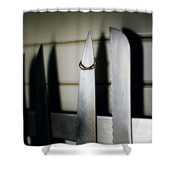 Pair Of Elegant Wedding Rings Shower Curtain