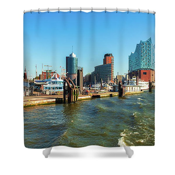 Panoramic View Of Hamburg. Shower Curtain