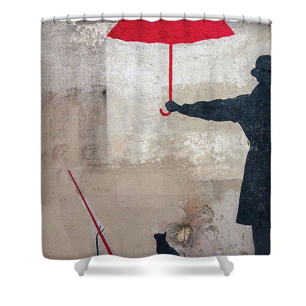 Paris Graffiti Man With Red Umbrella Shower Curtain