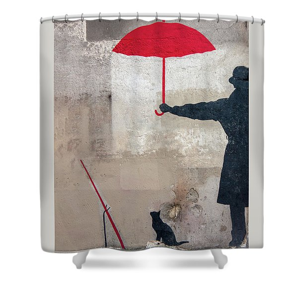 Paris Graffiti Man With Red Umbrella Shower Curtain