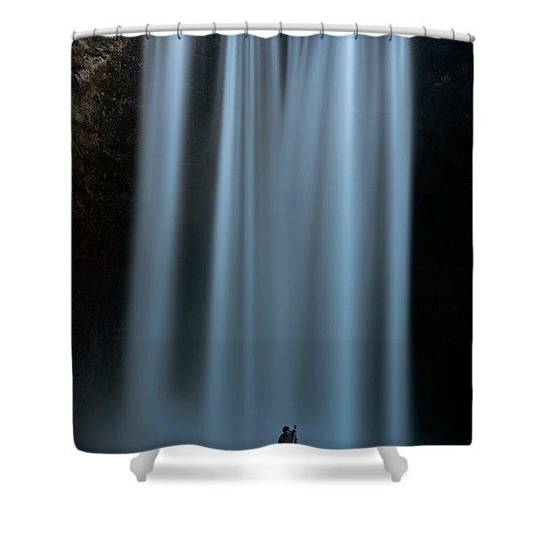 Amongst Giants Skogafoss Iceland Shower Curtain
