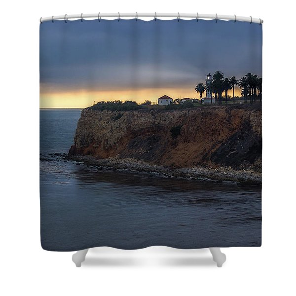 Point Vicente Lighthouse At Sunset Shower Curtain