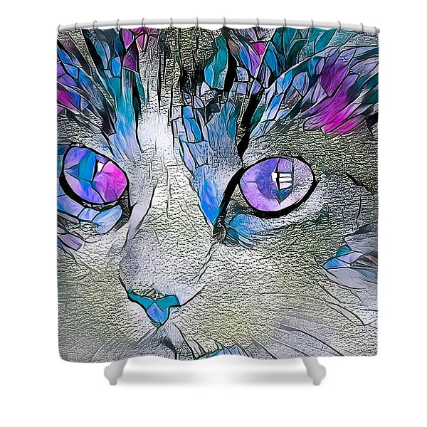 Purple Stained Glass Kitty Shower Curtain