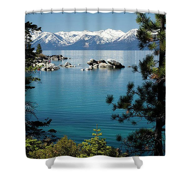 Rocks In A Lake With Mountain Range Shower Curtain
