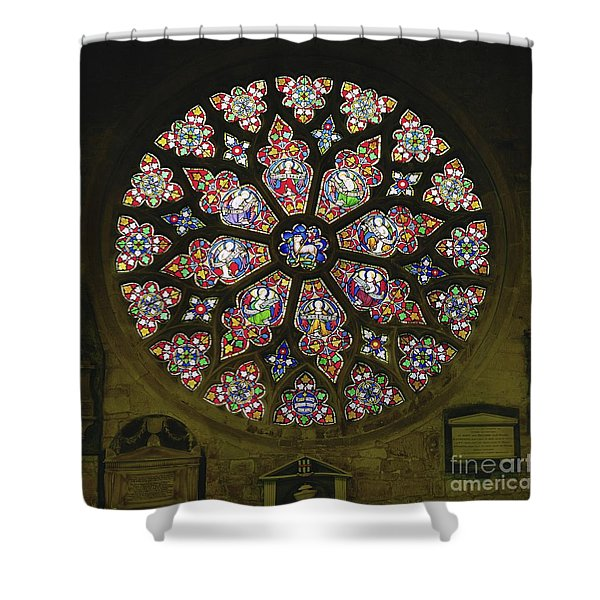 Rose Window, Stained Glass Shower Curtain
