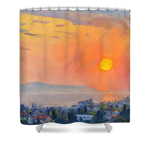 Sunrise Over Dilesi Athens  Shower Curtain