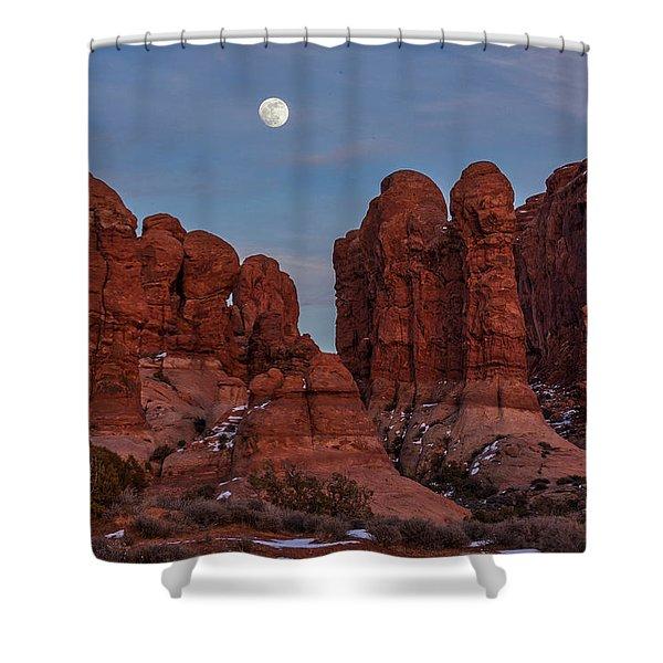 Super Moonrise At Garden Of Eden Shower Curtain