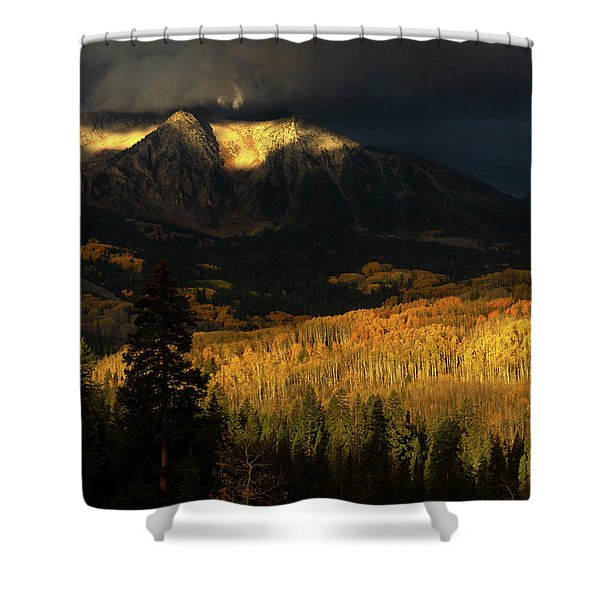 Shower Curtain featuring the photograph The Golden Light by John De Bord